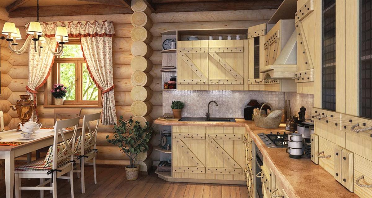 деревянная кухня в интерьере будет актуально