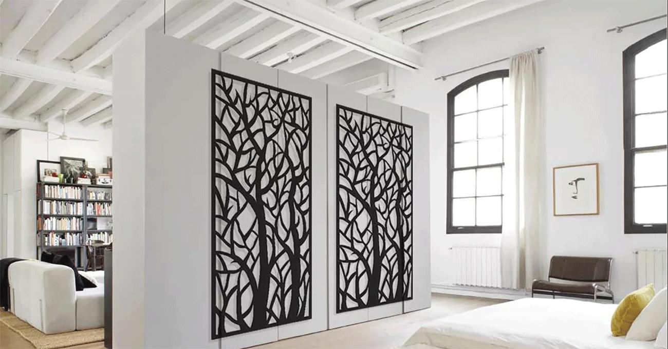 перегородки для зонирования пространства в комнате из натурального дерева
